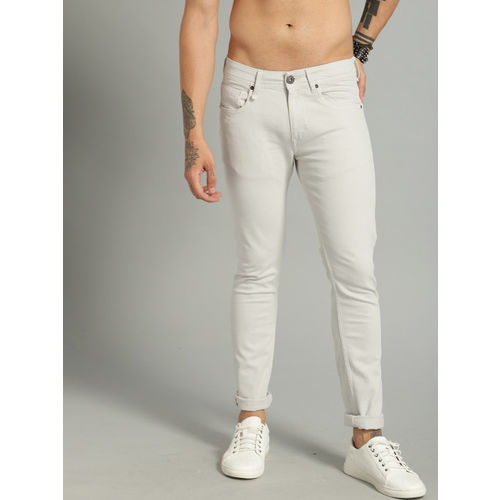 Roadster Men Grey Skinny Fit Mid-Rise Clean Look Stretchable Jeans