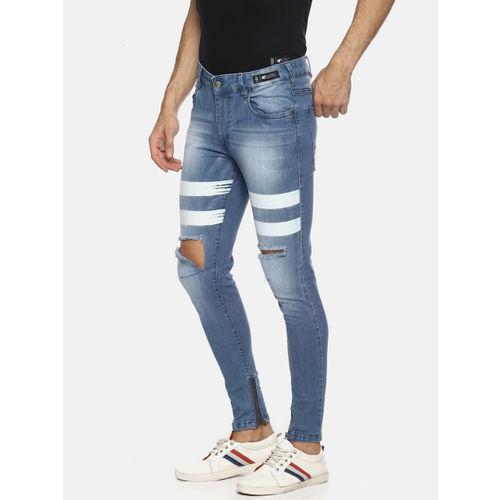 KULTPRIT Blue Skinny Fit Mid-Rise Slash Knee Stretchable Jeans