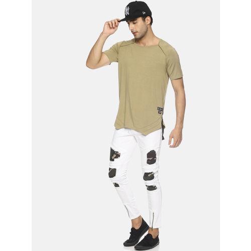 KULTPRIT White Cotton Denim Slim Fit Casual Jeans