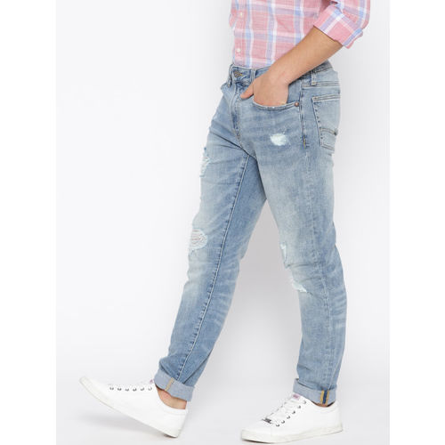 AMERICAN EAGLE OUTFITTERS Men Blue Skinny Fit Mid-Rise Mildly Distressed Stretchable Jeans