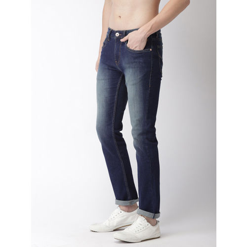 Flying Machine Men Blue Michael Slim Tapered Fit Mid-Rise Clean Look Stretchable Jeans