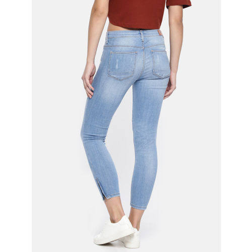 ONLY Women Blue Kendell Regular Skinny Fit Mid-Rise Low Distress Stretchable Jeans