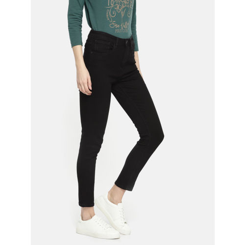 U.S. Polo Assn. Women Black Skinny Fit High-Rise Clean Look Stretchable Ankle Jeans