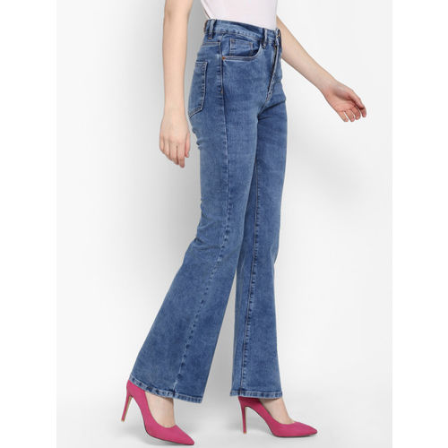 FOSH Women Blue Bootcut Mid-Rise Clean Look Stretchable Jeans