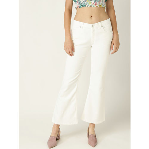 United Colors of Benetton Women Off-White Bootcut Mid-Rise Clean Look Stretchable Jeans