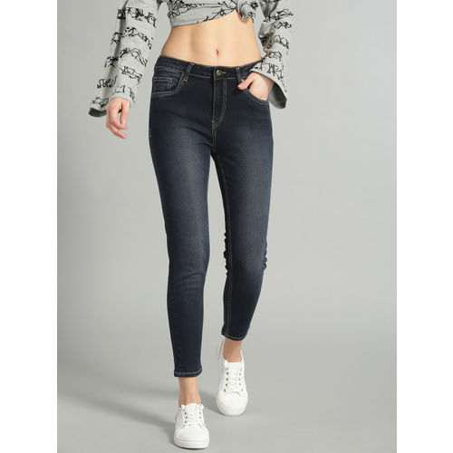 Roadster Women Blue Skinny Fit Mid-Rise Clean Look Stretchable Cropped Jeans