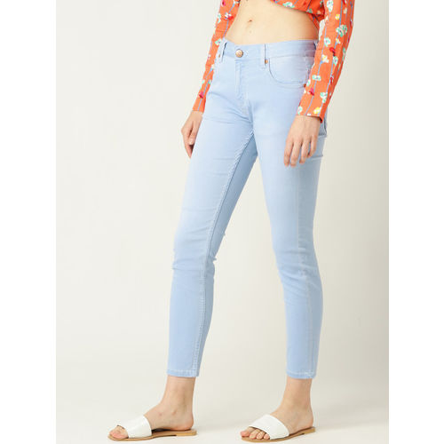 United Colors of Benetton Women Blue Mid-Rise Clean Look Stretchable Cropped Jeans