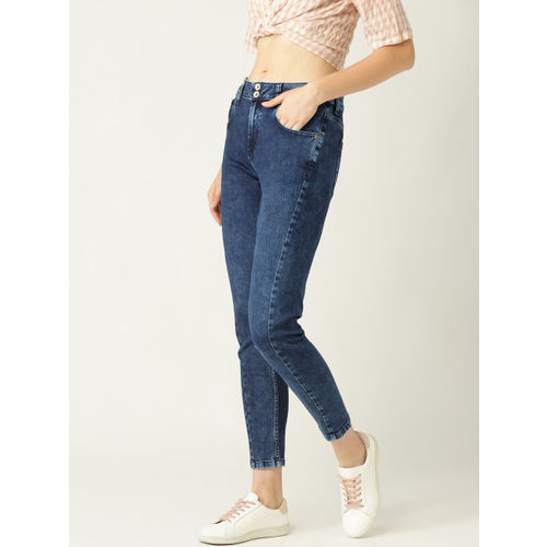 United Colors of Benetton Women Navy Blue Skinny Fit High-Rise Stretchable Cropped Jeans