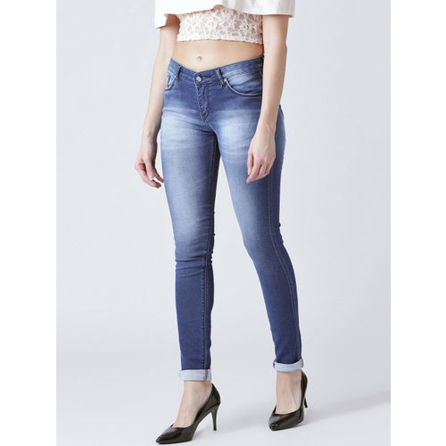 Devis Women Blue Skinny Fit Mid-Rise Clean Look Stretchable Jeans