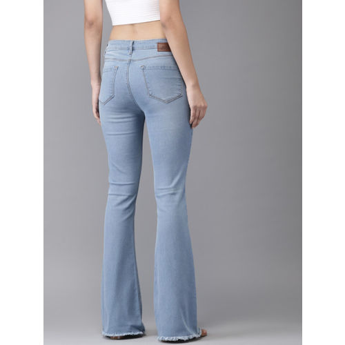 Moda Rapido Women Blue Flared Mid-Rise Low Distress Stretchable Jeans