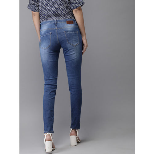 HERE&NOW Women Skinny Fit Mid-Rise Mildly Distressed Stretchable Jeans