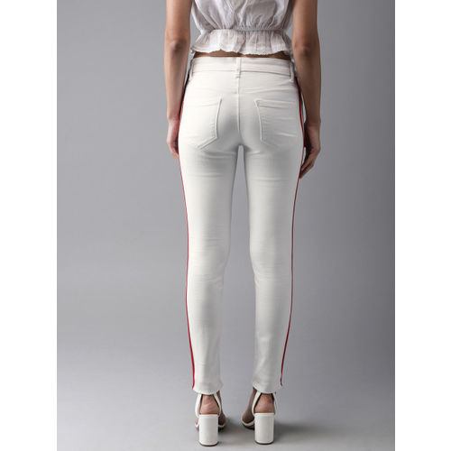 Moda Rapido Women White Skinny Fit Mid-Rise Clean Look Stretchable Jeans