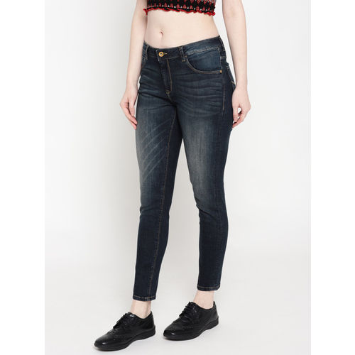 U.S. Polo Assn. Women Navy Blue Super Skinny Fit Mid-Rise Clean Look Stretchable Jeans