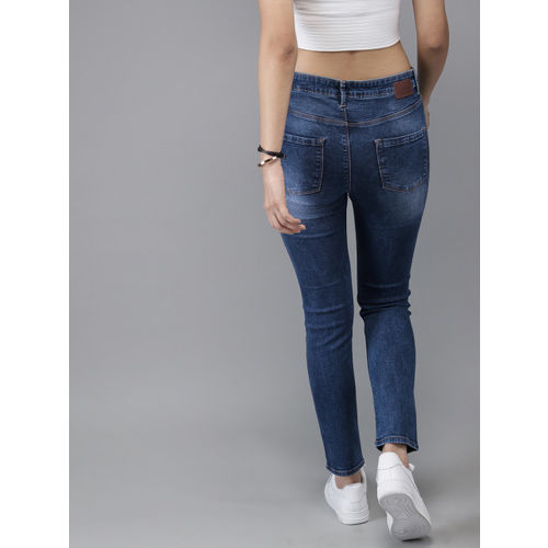 Moda Rapido Women Blue Skinny Fit High-Rise Mildly Distressed Stretchable Cropped Jeans