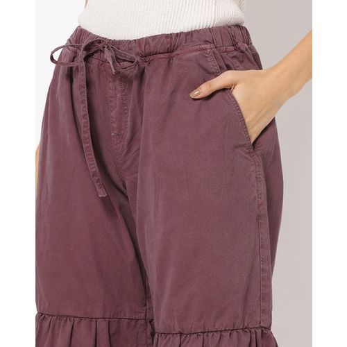 Freakins Flared Trousers with Drawstring Waist