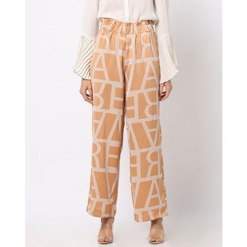 Vero Moda Typographic Print Pants with Elasticated Waistband