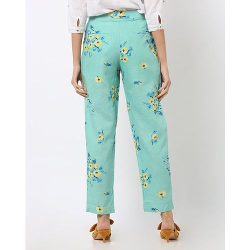 Vero Moda Floral Print Flat-Front Trousers