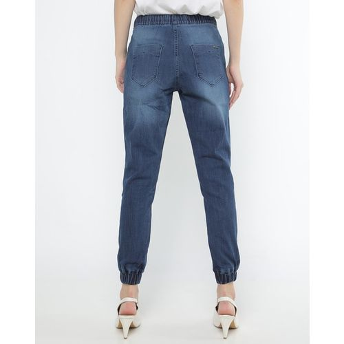 PROJECT EVE WESTERN WEAR Lightly Washed Denim Joggers with Elasticated Drawstring Waist