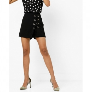 RIO Black Polyester Flared Mini Skort with Laced Eyelets