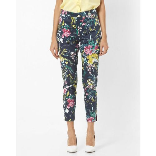 Vero Moda Floral Print Mid-Rise Flat-Front Trousers