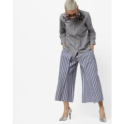 PROJECT EVE WESTERN WEAR Striped Cotton Palazzos