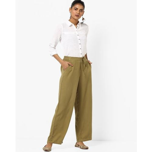 PROJECT EVE WESTERN WEAR Mid-Rise Palazzos with Tie-Up