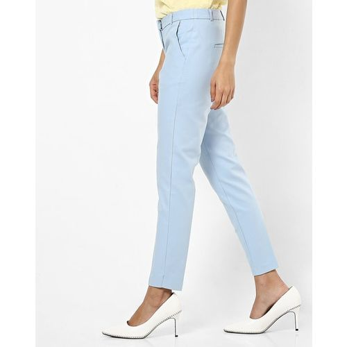 Vero Moda Ankle Length Flat-Front Trousers with Slant Pockets