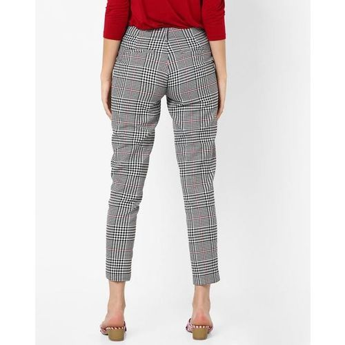 Vero Moda Checked Mid-Rise Pants with Insert Pockets