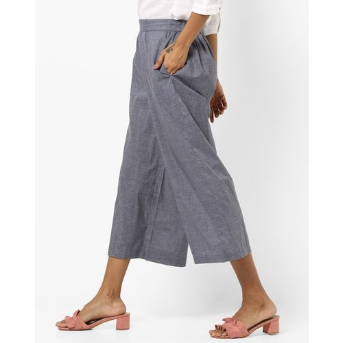 AVAASA MIX N' MATCH Textured Mid-Rise Culottes with Insert Pockets
