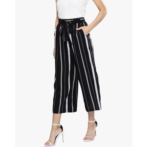 HARPA Striped Cropped Palazzo Pants with Tie-Up