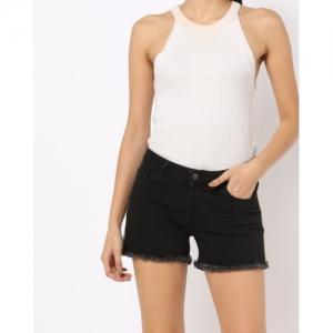 Freakins Black Cotton Mid-Rise Shorts with Frayed Hems