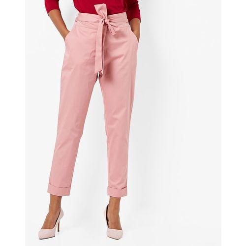 AJIO Ankle-Length Pants with Front Tie-Up