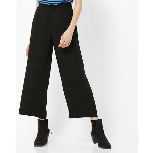 Vero Moda Checked Pleated Trousers with Semi-Elasticated Waist