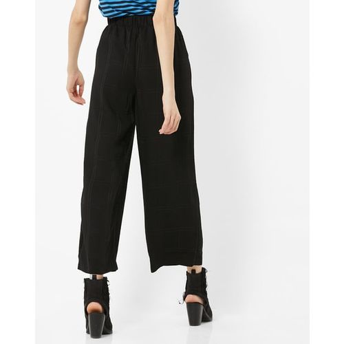 Vero Moda Checked Pleated Trousers with Semi-Elasticated Waist