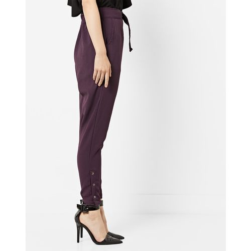 AJIO Mid-Rise Pants with Buttoned Hems