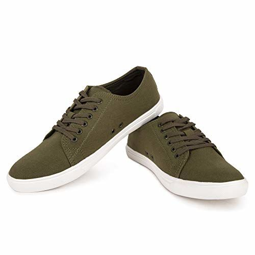 MONKS & KNIGHTS Army Green Smart Casual Canvas Sneakers Shoes for Men Boys Girls Unisex