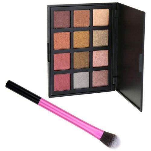 Nema Eyeshadow Palette With Brush-12 Colors- Smokey Beauty 120 g(Smokey beauty)