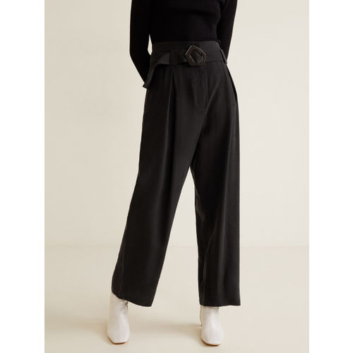 MANGO Women Black Regular Fit Solid Parallel Trousers