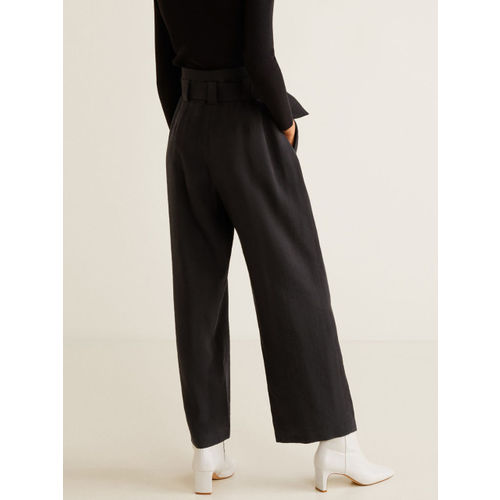 MANGO Women Black Regular Fit Solid Parallel Trousers