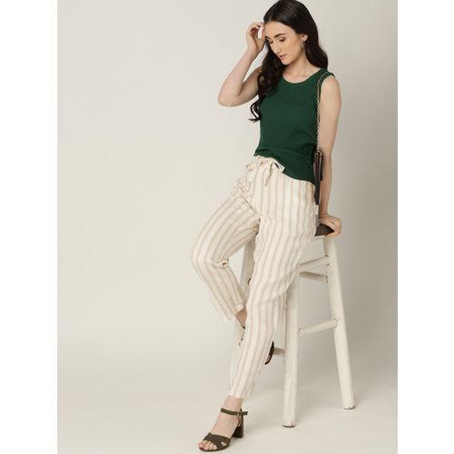 MANGO Women Off-White & Beige Linen Striped Regular Trousers