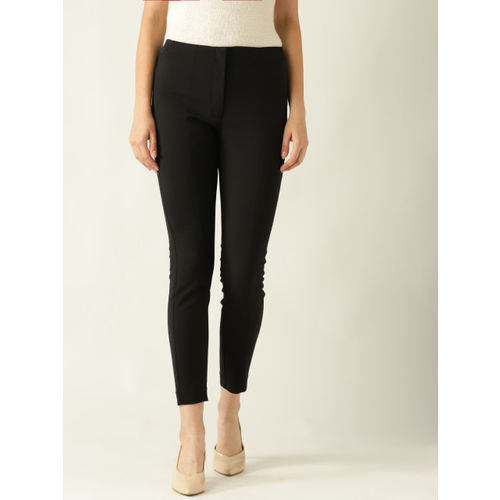 MANGO Women Black Skinny Fit Solid Cropped Formal Trousers