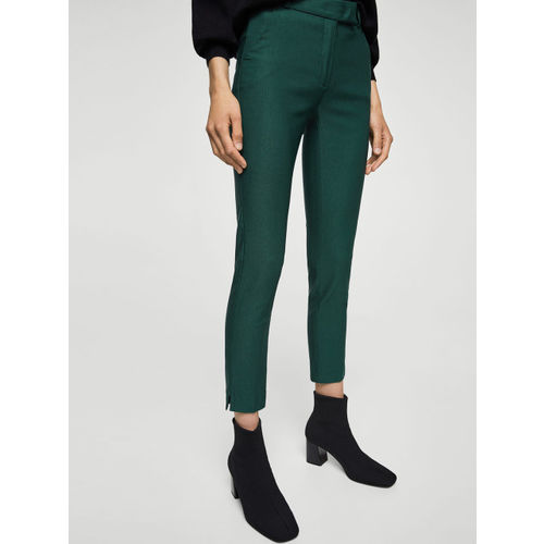 MANGO Women Green Regular Fit Solid Trousers