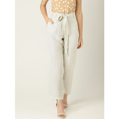 MANGO Women Off-White & Black Regular Fit Striped Peg Trousers