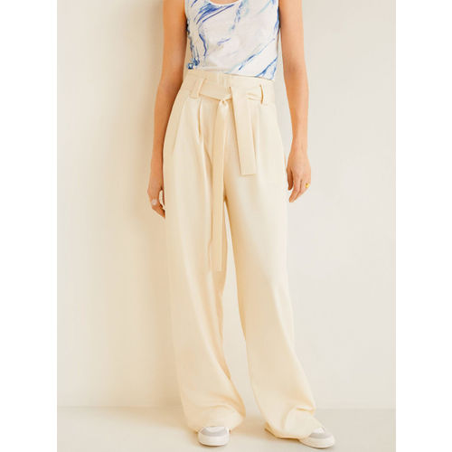 MANGO Women Cream-Coloured Loose Fit Solid Parallel Trousers