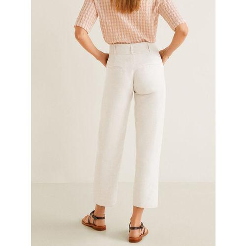 MANGO Women Off-White Solid Regular Trousers