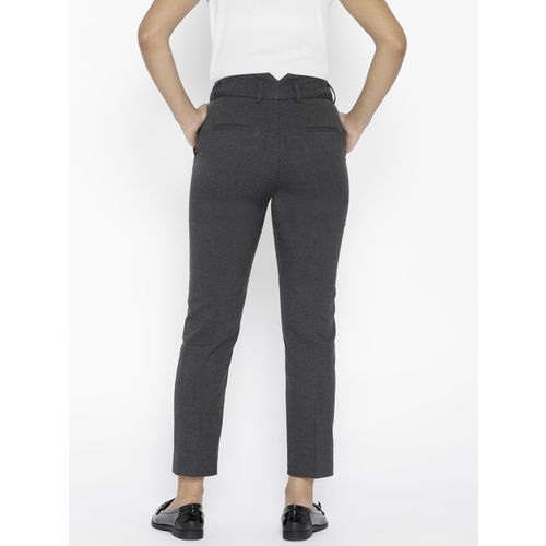 MANGO Women Charcoal Grey Regular Fit Solid Cropped Trousers