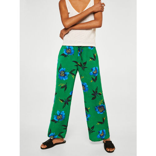 MANGO Women Green & Blue Printed Regular Fit Parallel Trousers
