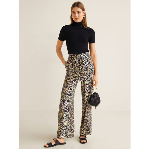 MANGO Women Beige & Black Animal Print Parallel Trousers