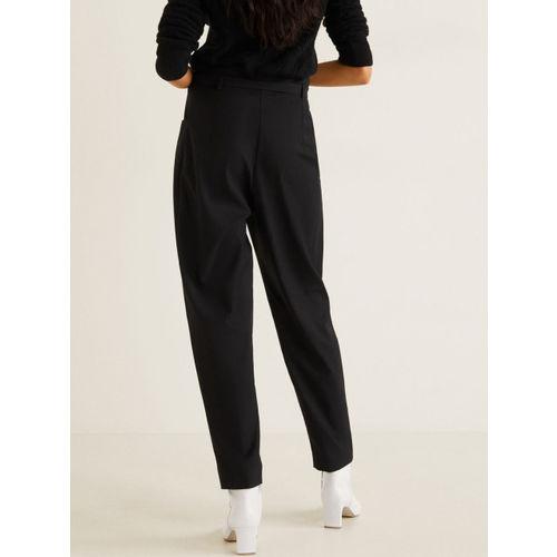 MANGO Women Black Regular Fit Solid Trousers
