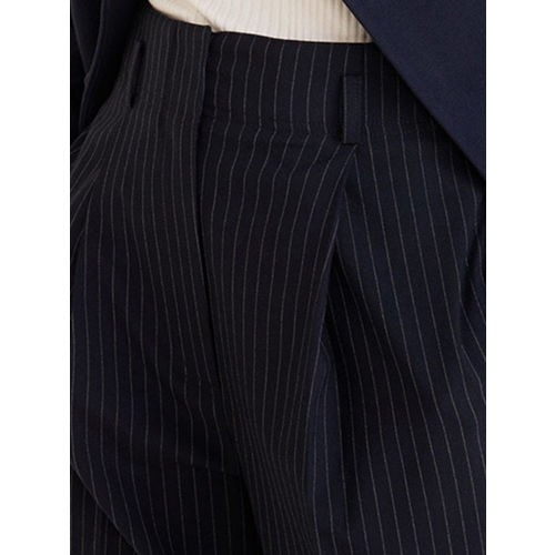 MANGO Women Navy Blue & White Regular Fit Striped Formal Trousers